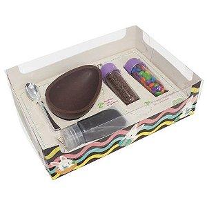 Caixa Ovo de Colher Kit Confeiteiro Candy Color 2267 - Meio Ovo de 150g - 22x16x6,5cm - Branca - 10 unidades - Ideia Embalagens - Páscoa Rizzo Embalagens