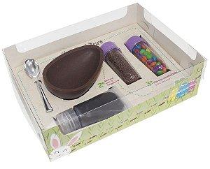 Caixa Ovo de Colher Kit Confeiteiro Diversão 2268 - Meio Ovo de 150g - 10 unidades - Ideia Embalagens - Páscoa Rizzo Emb