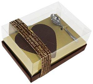 Caixa Ovo de Colher Coração de 250g - Classic Ouro Marrom  Cód 0655 - 05 unidades - Ideia Embalagens