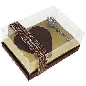 Caixa Ovo de Colher Coração de 500g - Classic Ouro Marrom 16x22x9cm - 05 unidades - Ideia Embalagens - Páscoa Rizzo Embalagens