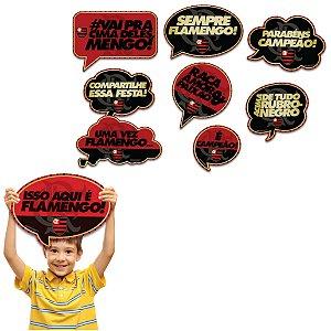 Kit Plaquinhas Divertidas Festa Flamengo - 09 unidades - Festcolor - Rizzo Festas