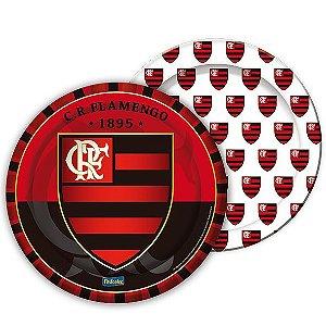 Prato Festa Flamengo - 18cm - 8 unidades - Festcolor - Rizzo Festas