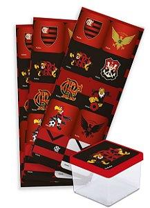 Adesivo Quadrado Decorativo Festa Flamengo - 30 unidades - Festcolor - Rizzo Festas