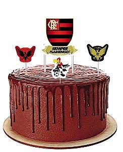 Topper para Bolo Festa Flamengo - 04 unidades - Festcolor - Rizzo Festas