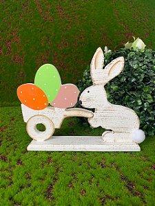 Coelho de MDF Rústico Branco com Carrinho de Ovos e PomPom - 01 unidade - Páscoa - Rizzo Embalagens