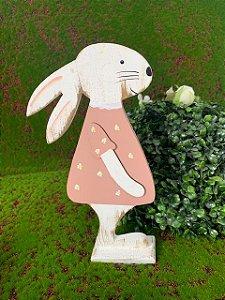 Coelha de MDF Rústico Vestido Rosa com Margaridas - 01 unidade - Páscoa - Rizzo Embalagens