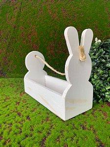 Cachepot de MDF Rústico Branco Coelho com Corda - 01 unidade - Páscoa - Rizzo Embalagens