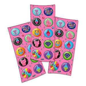 Adesivo Redondo para Lembrancinha Festa Trolls 2 - 30 unidades - Festcolor - Rizzo Embalagens e Festas