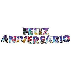 Faixa Feliz Aniversário Festa Trolls 2 - 01 unidade - Festcolor - Rizzo Festas