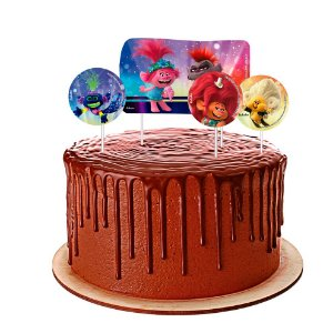 Topo de bolo Festa Trolls 2 - 04 unidades - Festcolor - Rizzo Festas