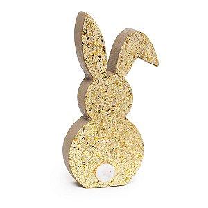 Silhueta de Coelho em Madeira Dourado com Glitter e PomPom - 01 unidade - Cromus Páscoa - Rizzo Embalagens