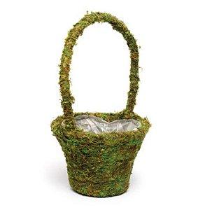 Cesta com Alças Musgo Verde Rústica - 35cm x 20m x 20cm - Linha Rústic - Cromus Páscoa Rizzo Embalagens