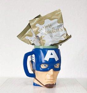 Kit Caneca 3D com Cookies - Capitão América - 01 unidade - Cromus - Rizzo Embalagens