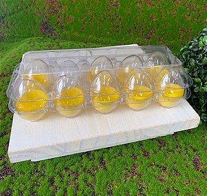 Caixa com 10 Mini Ovos de Plástico Amarelo e Transparente - Rizzo Embalagens