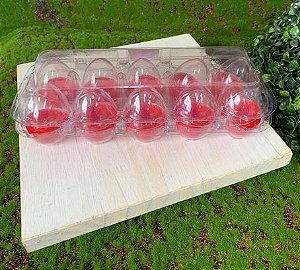 Caixa com 10 Mini Ovos de Plástico Vermelho e Transparente - Rizzo Embalagens