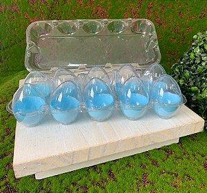 Caixa com 10 Mini Ovos de Plástico Azul e Transparente - Rizzo Embalagens