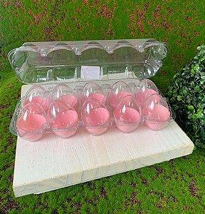 Caixa com 10 Mini Ovos de Plástico Rosa e Transparente - Rizzo Embalagens