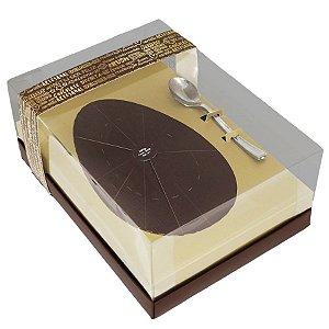 Caixa Ovo de Colher Ouro Marrom - Meio Ovo de 500g - 22x16x9cm - 05 unidades - Ideia Embalagens - Páscoa Rizzo Embalagens