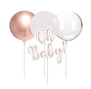 Kit Topo de Bolo com Balão - Festa OH Baby Girl - 01 unidade - Cromus - Rizzo Festas