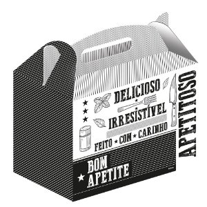 Caixa para Kit Lanches Preto e Branco - 50 unidades - Food Service Fest Color - Rizzo Embalagens