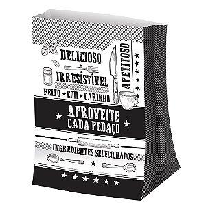 Saco para Viagem M 29,5x23,5cm Preto e Branco - 50 unidades - Food Service Fest Color - Rizzo Embalagens