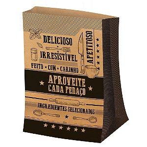 Saco para Viagem M 29,5x23,5cm Kraft - 50 unidades - Food Service Fest Color - Rizzo Embalagens