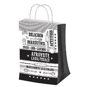 Sacola P 27,5x17,5cm Preto e Branco - 50 unidades - Food Service Fest Color - Rizzo Embalagens