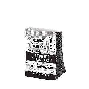 Saco para Viagem P 27,5x17,5cm Preto e Branco - 50 unidades - Food Service Fest Color - Rizzo Embalagens