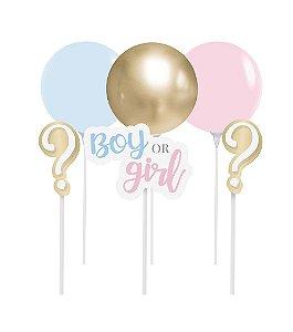 Kit Topo de Bolo com Balão - Festa Boy or Girl 2 - 01 unidade - Cromus - Rizzo Festas