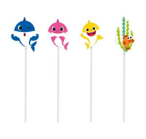 Pick Longo Decorativo Sortido - Festa Baby Shark - 08 unidades - Cromus - Rizzo Festas