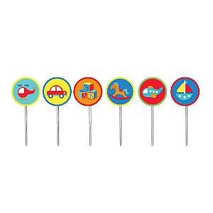 Pick Decorativo Sortido - Festa Fábrica de Brinquedos - 12 unidades - Cromus - Rizzo Festas