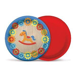 Prato de Papel 18cm - Festa Fábrica de Brinquedos - 08 unidades - Cromus - Rizzo Festas