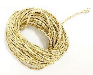Cordão de Juta com Fio Dourado- 10 metros - Rizzo Embalagens