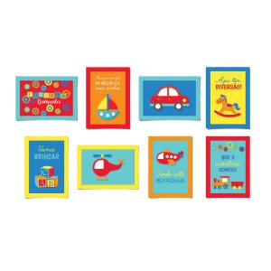Cartaz Decorativo - Festa Fábrica de Brinquedos - 08 unidades - Cromus - Rizzo Festas