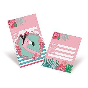 Convite - Festa Tropical Flamingo - 08 unidades - Cromus - Rizzo Festas