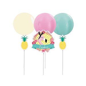 Kit Topo de Bolo com Balão - Festa Tropical Flamingo - 01 unidade - Cromus - Rizzo Festas