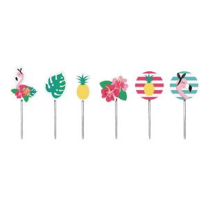 Pick Decorativo Sortido - Festa Tropical Flamingo - 12 unidades - Cromus - Rizzo Festas
