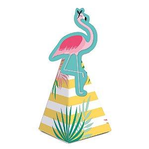 Caixa Cone com Aplique - Festa Tropical Flamingo - 08 unidades - Cromus - Rizzo Festas