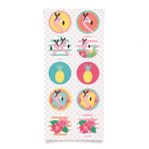 Adesivo Redondo - Festa Tropical Flamingo - 30 unidades - Cromus - Rizzo Festas