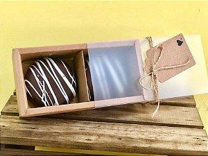 Caixa Pão de Mel Kraft com 2 divisões - 15,3x7,6x5cm - 01 unidade - Rizzo Embalagens