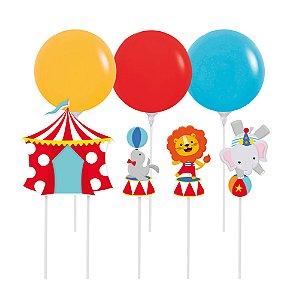 Kit Topo de Bolo com Balão - Festa Circo 2 - 01 unidade - Cromus - Rizzo Festas