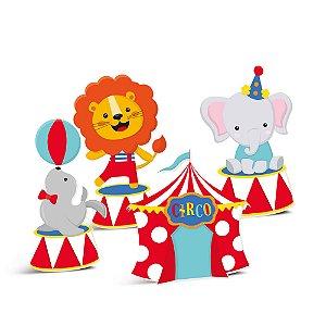 Silhueta Decorativa de Mesa - Festa Circo 2 - 04 unidades - Cromus - Rizzo Festas