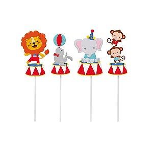 Pick Longo Decorativo Sortido - Festa Circo 2  - 08 unidades - Cromus - Rizzo Festas
