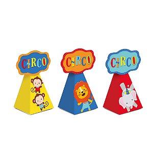 Caixa Cone com Aplique - Festa Circo  2 - 08 unidades - Cromus - Rizzo Festas