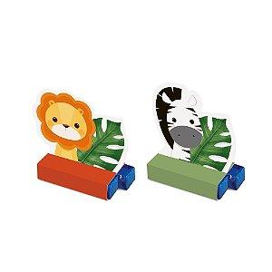 Caixa Bis - Festa Safari 2 - Zebra e Leão - 08 unidades - Cromus - Rizzo Festas