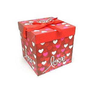 Caixa Dobravel De Papel Para Presente Love - 10cm x 10cm x 10cm - 01 Unidade - Rizzo Embalagens