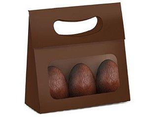 Mini Caixa Plus para Ovos com Visor Páscoa Marrom- 10 unidades - 13x5,5x13cm - Cromus Profissional - Rizzo Embalagens