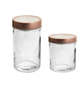 Pote de Vidro Redondo Tampa Vazada Rosê Gold - 350ml ou 500ml - 01 unidade - Rizzo Embalagens