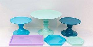 Kit Comemore 04 - Azul, Verde Candy, Azul Petróleo, Lilás - Só Boleiras - Rizzo Festas