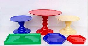 Kit Comemore 08 - Vermelho, Azul, Amarelo e Verde - Só Boleiras - Rizzo Festas